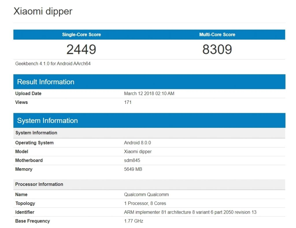 Mysterious Xiaomi Dipper Smartphone Passed Geekbench With Snapdragon 845